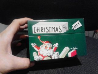 1954 Mayfair Christmas Card Mailing List Metal Box.  W/ Cards On Inside All Orig. photo