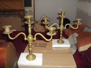 2 Unique Antique Brass,  Marbal 3 Arm Candel Holders. photo
