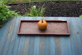 Early Old Wooden Tray Shelf Farm Country Rustic Vintage Red Long Shelf photo
