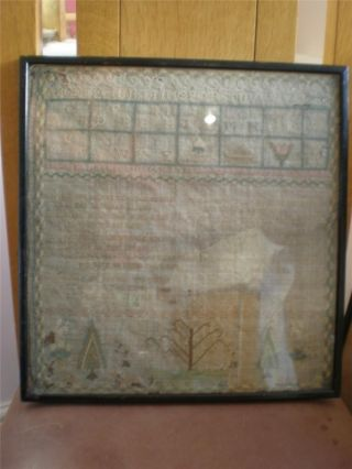 Antique Needlework Sampler With Alphabet And Hymn 1805 photo