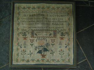 Stunning Framed And Glazed George Iv Needlework Sampler By Mary Wood 1820 photo