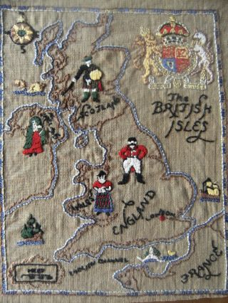 Vintage 1930 ' S Embroidered Sampler ~ The British Isles ~ photo
