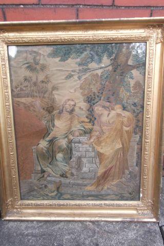 Georgian Silk Work Sampler Tapestry Jesus And Mary Magdalene photo