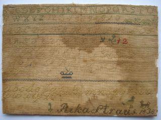 Antique 19th Century Alphabet Sampler By Rika Straus 1836 photo