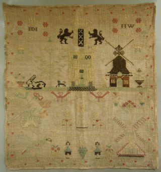1800 Dated Wonderful Antique Dutch Silk On Linen Sampler Amsterdam Windmills photo