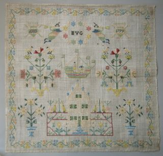 1779 Exquisite Antique Dutch Silk On Linen Sampler Very Good Condition photo