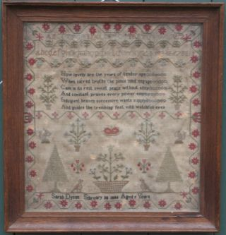 Sarah Dyson Aged 9 1834,  Fine Silk Sampler,  Gerorian,  Yorkshire. photo