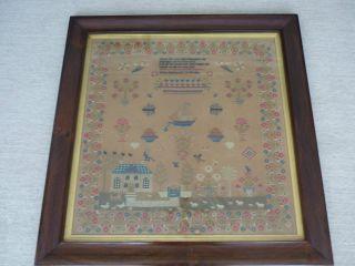Antique Large Victorian Sampler Sarah Higginson 1856.  Rosewood Frame photo