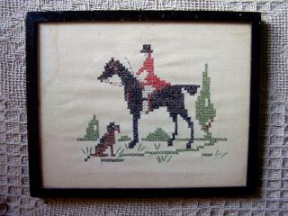 Old Embroidery Picture / Sampler,  Horse,  Rider & Dog Huntsman. photo