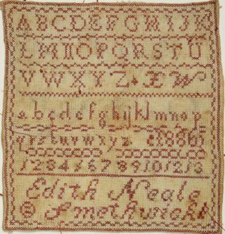 Antique Victorian Redwork Alphabet Sampler - Edith Neale - Smethwick - 1886 photo