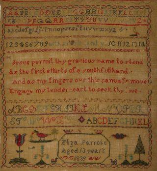 Antique Sampler - Eliza Parrott 1839 - Alphabets & Vowels photo