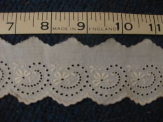 Antique English Cotton (ceam) Embroidered/lace 23