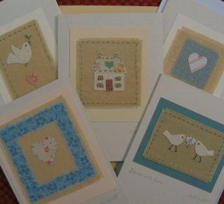 Special Offer Five Hand - Stitched Cards By Helen Drewett Low Start Price photo