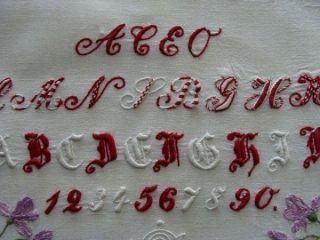 Antique Fancy Turkey Redwork Hand Embroidered Sampler Victorian Era Pristine photo