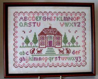 Antique/vintage ~ Embroidered Alphabet/house/animals Sampler ~ Framed photo