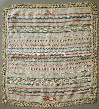 1905 Antique Lovely Red & Blue Borders Sampler Handmade Lace Signed ' Bwn ' photo