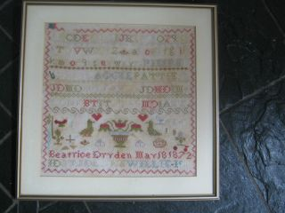 Framed & Glazed Sampler By Beatrice Dryden - Dated May 18 1872 photo