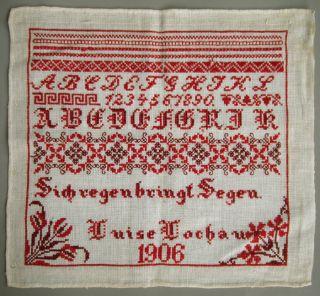 1906 Red Schoolgirl Sampler German Proverb ' Sich Regen Bringt Segen ' photo