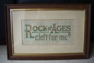 Rock Of Ages Cleft For Me Old Paper Punch Sampler In Wooden Frame photo