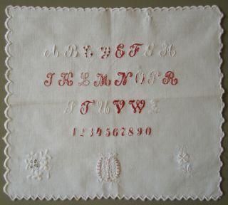 Circa 1900 German Antique Cotton White Work Alphabet Sampler Very Well Made photo