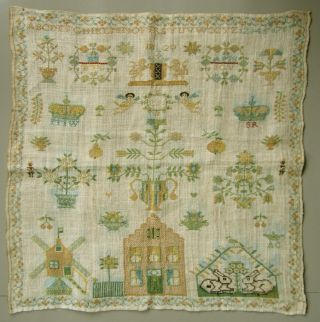 1820 Stunning Dutch Sampler Amsterdam Coat Of Arms House Windmill Angels Crown photo