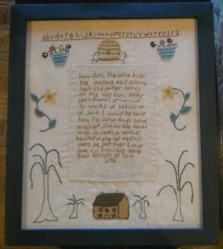 English Sampler: Poem Alice In Wonderland + Letters Numbers Probably 20th Cent. photo
