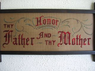 Antique Sampler Style,  Kit,  Honor Thy Father And Mother photo