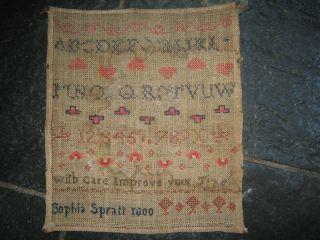 George Iii Needlework Sampler By Sophia Spratt 1800 photo