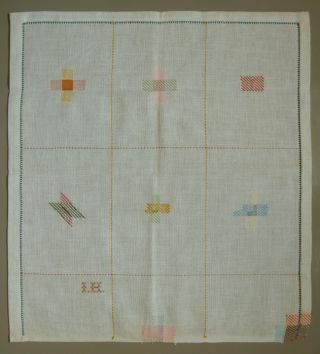Charming & Colorful Old Darning Sampler Very Pretty Circa 1920 photo