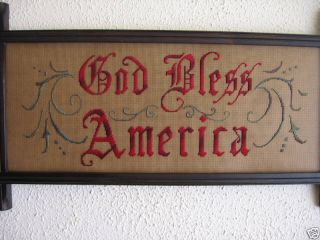 God Bless America;antique Sampler Style,  Embroidery Kit photo