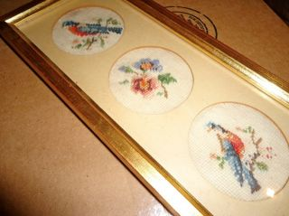 Old Gold Framed Petit Point Sampler Featuring Two Robins And Flowers. photo