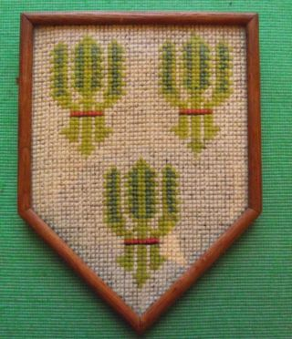 Aberdeen Edwardian Framed Needlework Heraldic Sampler In Period Rosewood Frame C photo