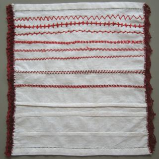 Circa 1900 German Red Burgundy Needlework Band Sampler Handmade Lace photo