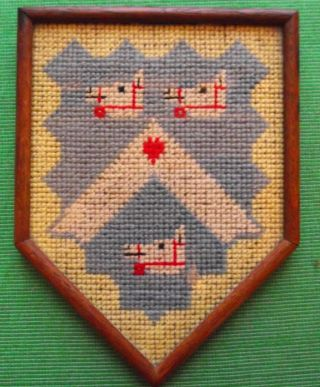 Aberdeen Edwardian Framed Needlework Heraldic Sampler In Period Rosewood Frame D photo