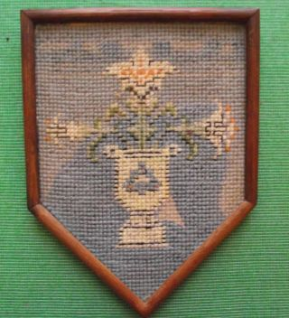 Aberdeen Edwardian Framed Needlework Heraldic Sampler In Period Rosewood Frame E photo