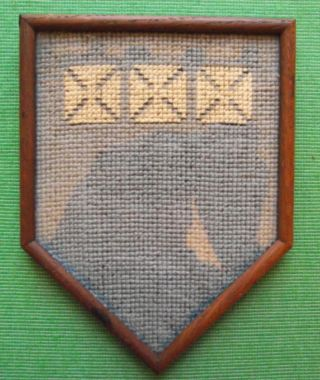 Aberdeen Edwardian Framed Needlework Heraldic Sampler In Period Rosewood Frame F photo