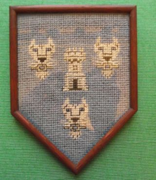 Aberdeen Edwardian Framed Needlework Heraldic Sampler In Period Rosewood Frame B photo