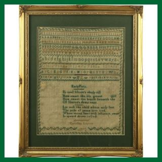 Caroline Lupton 1846 Early Piety Ebroidery Cross - Stitch Needlepoint Sampler photo