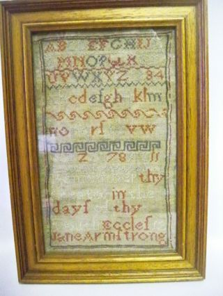 A Framed Georgian Sampler By Jane Armstrong C1820s With Bible Quote photo