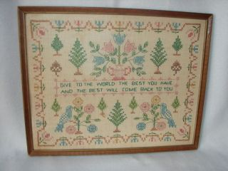 Antique Handmade Cross Stitched