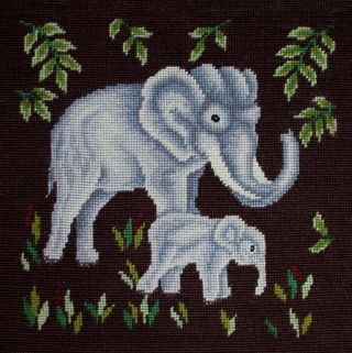 Antique Figural Needlepoint Petit Point Animals Mother Baby African Elephants photo