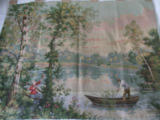 Large Antique French Tapestry Wall Hanging D ' Apres Corot Rural Scene photo