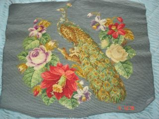 Vintage (1930s/40s) Completed Needlepoint Tapestry Peacock And Flowers Gorgeous photo