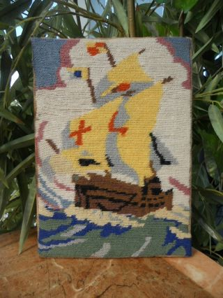Sailing Ship Galleon Boat - Vintage Antique Wool Tapestry Needlework Picture photo