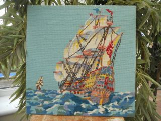 Vintage Completed Wool Tapestry Needlework Picture Sailing Ship Boat Galleon Sea photo