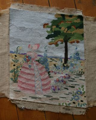 Vintage Completed Tapestry,  Crinoline Lady In Garden,  Good Size photo