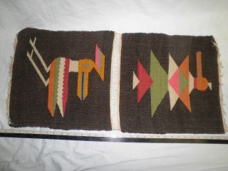 2 Vintage Hand Loomed Wool Tapestries Birds / Ceremonial Animals photo