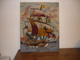Mid 20th Century Completed Tapestry A Galleon Scene Mounted On Hardboard photo