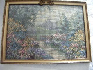 Framed Vintage Tapestry Of A Garden,  Dated 1938. photo