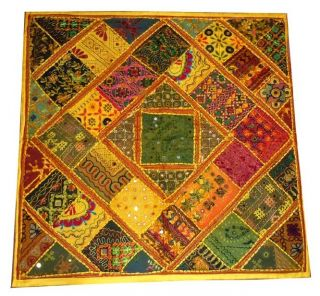 Arts Indian Gujrati Banzara Zari Mirror Worked Wall,  Table Tapstry Throw 40